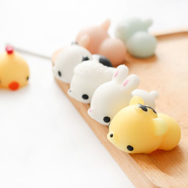 6pcs/set Funny Mochi Seal Chicken Tiger Pig Bunny Bear Squeeze Healing Toy Collection Stress Reliever Toys Gift