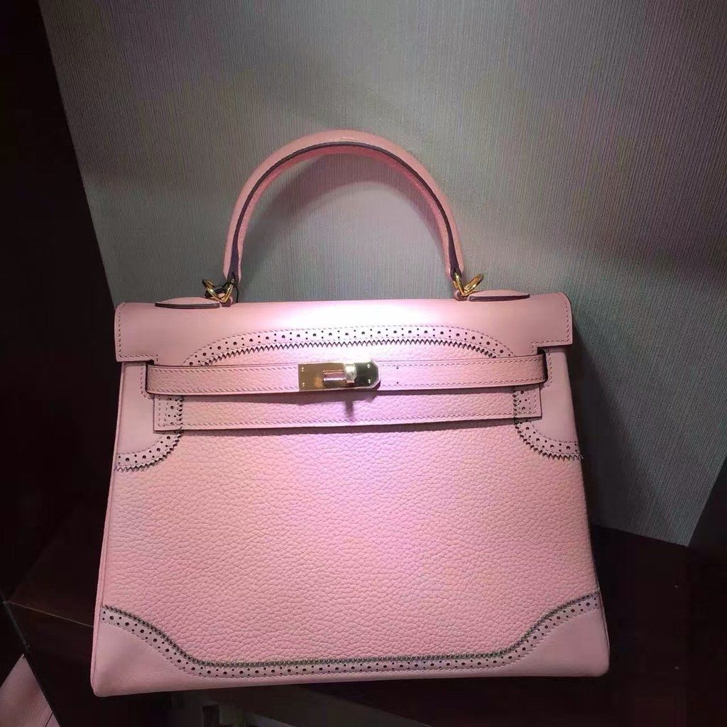 58bbc61af49b Hermes Limited Edition Rose Sakura 3Q Ghillie Kelly 32cm Togo Palladium  Hardware https