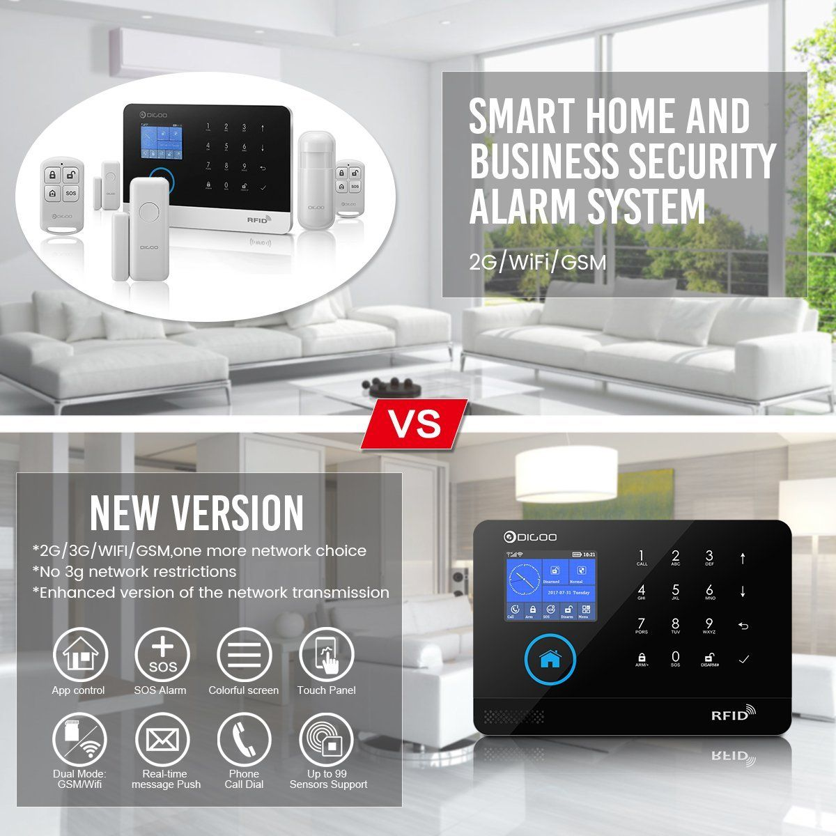 Digoo Dg Hosa 433mhz Wireless 3g Gsm Wifi Home And Business Security Alarm System Diy Smart Home Security Camera Systems Best Home Security System Smart Alarm