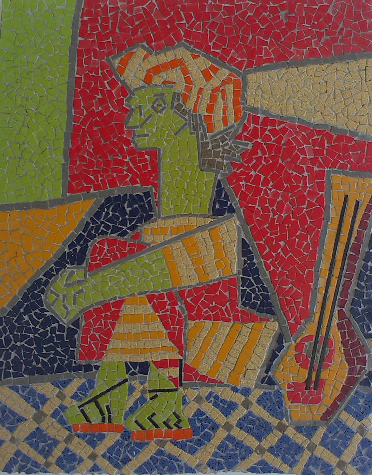"""Mosaico representativo """"Jaqueline con las manos cruzadas"""" de Picasso de 60 x 40 cm, realizado con cuarzo."""