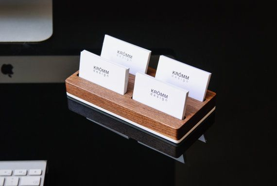 Wood Two Row Business Card Holder For Front Desk Wood Business Card Stand Multiple Business Card Display Walnut Wood Card Holder In 2021 Wood Business Cards Business Card Stand Business Card Holders