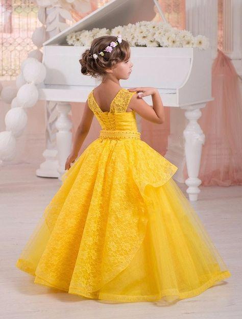 2fd3ee7890 Amarillo brillante Niña de las Flores Vestido Del Desfile de Vestidos De  Fiesta para Niñas de Encaje Perlas Comunión Vestidos Para Bodas 2016 FL34