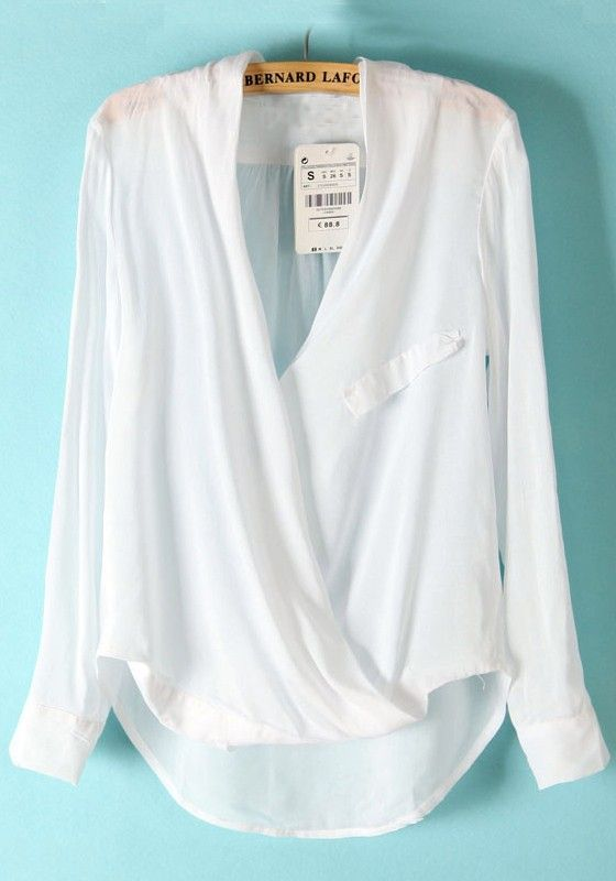 White Plain Irregular Long Sleeve Cotton Blend Blouse Hair Dos