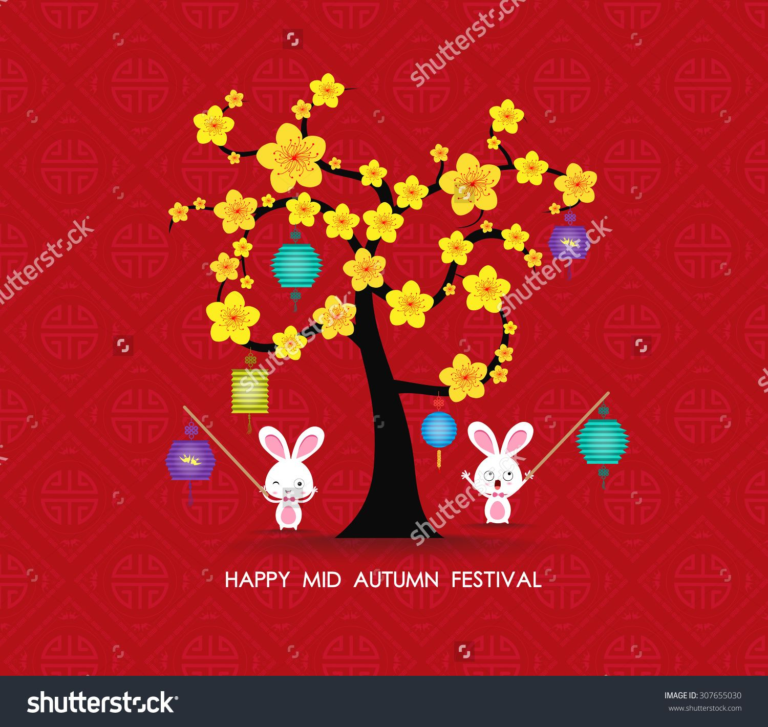 Mid autumn festival rabbit playing with lanterns happy greeting mid autumn festival rabbit playing with lanterns happy greeting card kristyandbryce Choice Image