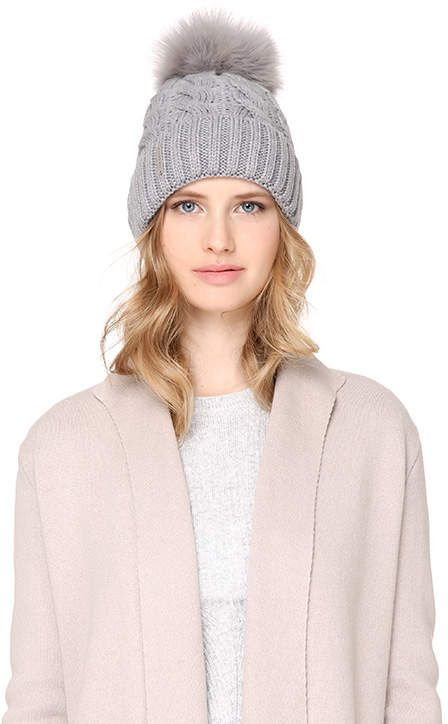 78ef972d050 Soia   Kyo AMALIE-T cable knit hat with removable pom pom