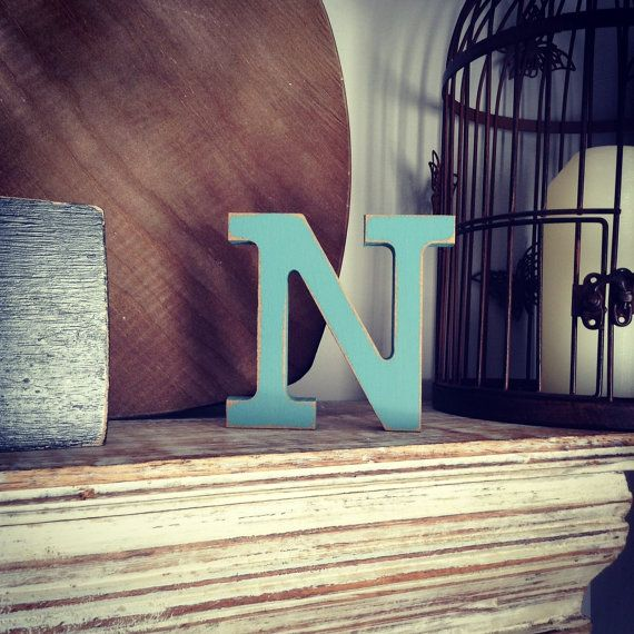 Handpainted Wooden Letter N Freestanding by LoveLettersMe £3 95