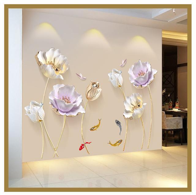 e54f4224814 Best 3D Flower Wall Sticker In 2019 Home And Garden 3D Wallpaper