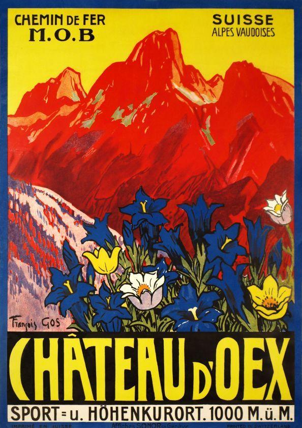 François Gos 1934 Château d'Oex, Chemin de fer M.O.B. Alpes Vaudoises