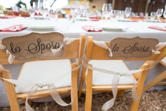Wedding Chair Signs Lo Sposo Y La Sposa