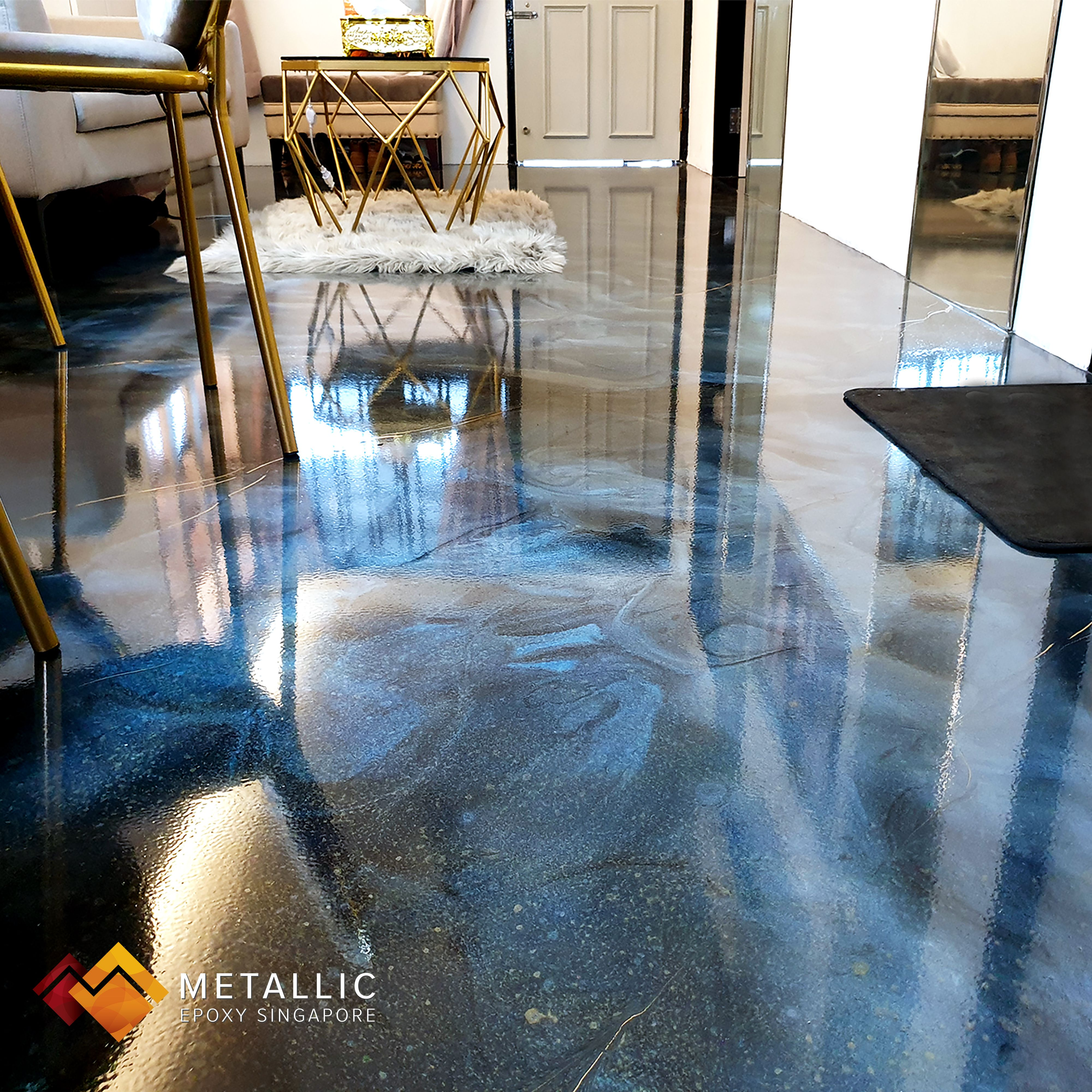 An Enchanting Blue Galaxy Theme Flooring Design For This Living Room Brings Calm And Pleasing Vibes Metallic E Floor Design Metallic Epoxy Floor Galaxy Theme Living room epoxy floors in homes