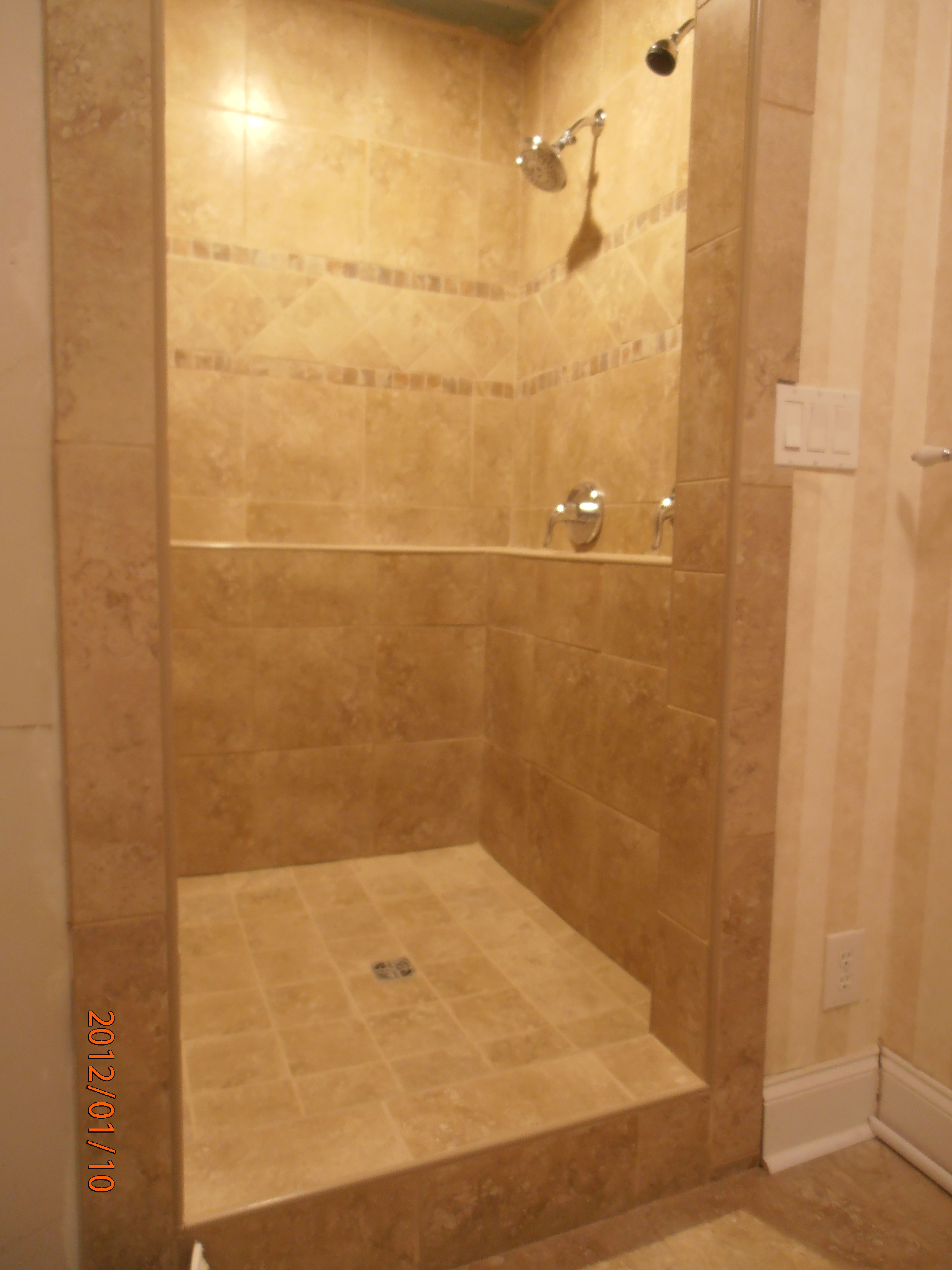 Newly Remodeled Shower. Porcelain Tile Rappalano Ocre Accented With  Princeps Tortora.