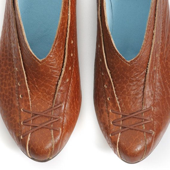 women flats brown shoes by MYKAshop on Etsy