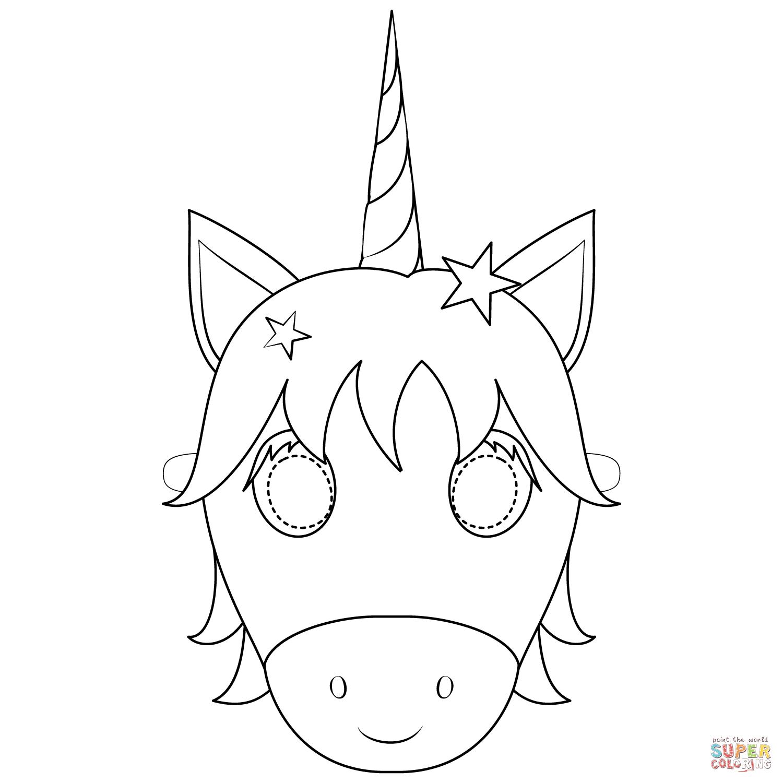 Ausmalbild: Unicorn Mask  Ausmalbilder kostenlos zum ausdrucken