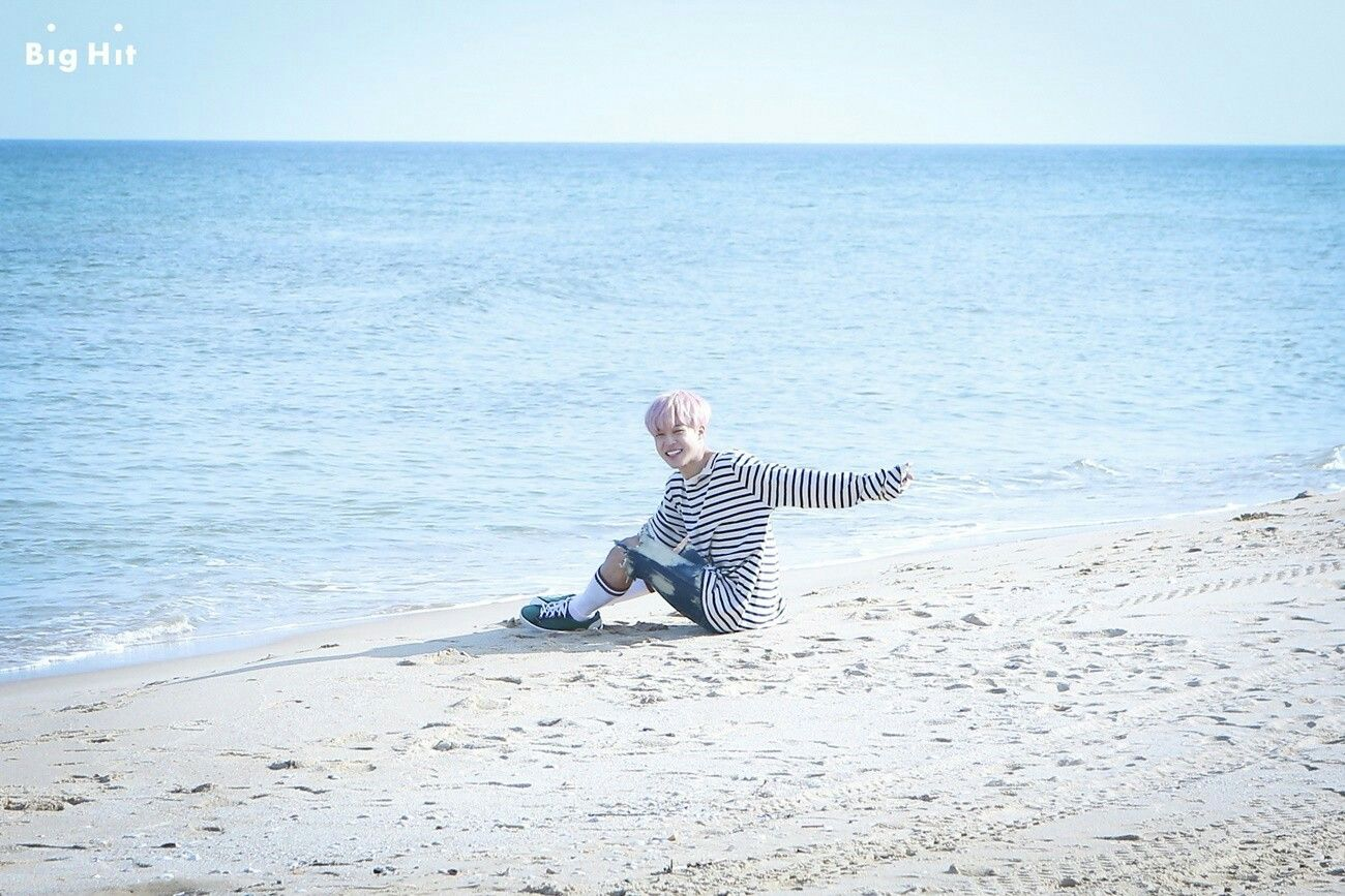 Starcast Bts In Mv Shooting For Spring Day Jimin Pink Boy Of The Sea Is Sitting Alone Along Seaside He Should Be Making A Heartrending