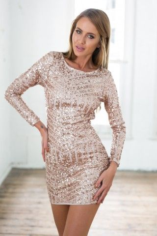 bd4fb0d468f Rose Gold Sequin Long Sleeve Dress w  Open Back