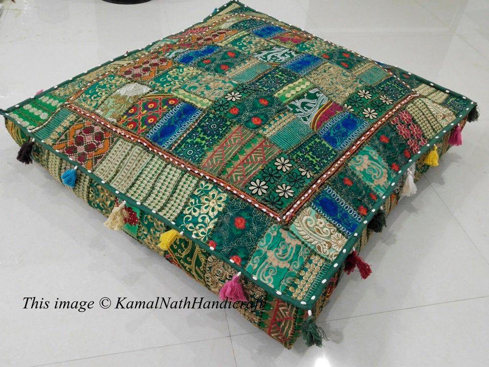 Bohemian Floor Cushions Decorative Cushion Cover Sari Etsy Indian Cushions Floor Pillows Large Floor Pillows