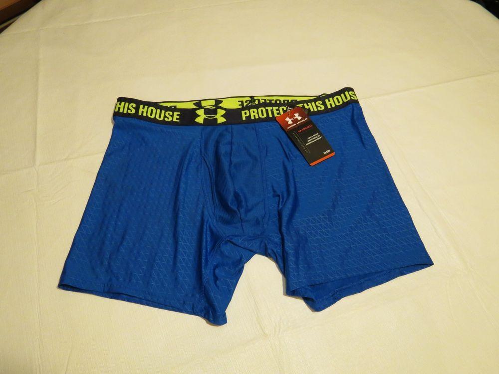 Under Armour UA boxer brief trunks PROTECT THIS HOUSE blue active sports L Men's #UnderArmour #BoxerBrieftrunks