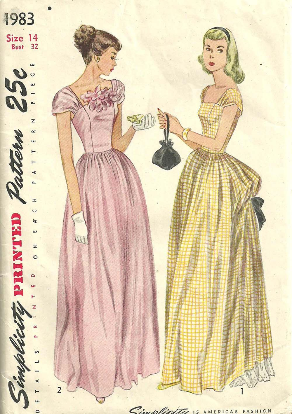 Simplicity 1983 Vintage 40s Sewing Pattern Evening Gown Formal Dress ...