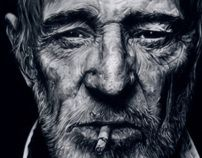 HYPERREALISTIC ILLUSTRATION  Pencil on Paper.  Richard Harris. the author of the photograph is Nigel Parry.
