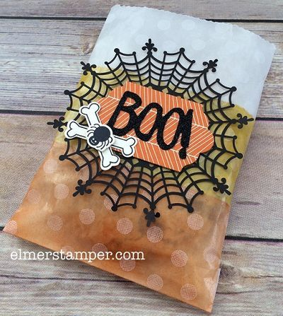 Candy Corn colored treat bag - these are so easy to make! Great for school parties or trick-or-treaters. Features Spider Web Doilies by Stampin' Up! and the Boo To You Framelits