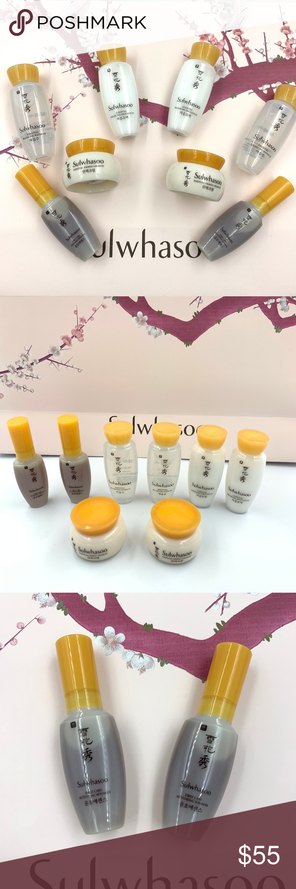 8 Sulwhasoo Travel Kit set Amore Pacific 8x Sulwhasoo Serum Balancing Water Emulsion Renewing Cream Travel Sample Kit set Korean -2x. First Care Activating Serum EX 8ml An essential regimen first-step serum formulated with JAUM Balancing Complex -2x. Essential Balancing Water EX 15ml Formulated with Korean medicinal herbs Soothes and calms skin Recommended -2x. Essential Balancing Emulsion EX 15ml Improves skin's ability to retain moisture Keeps skin supple and smooth.  -2x. Concentrated Ginseng