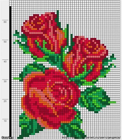Схема вышивки крестом розы простые
