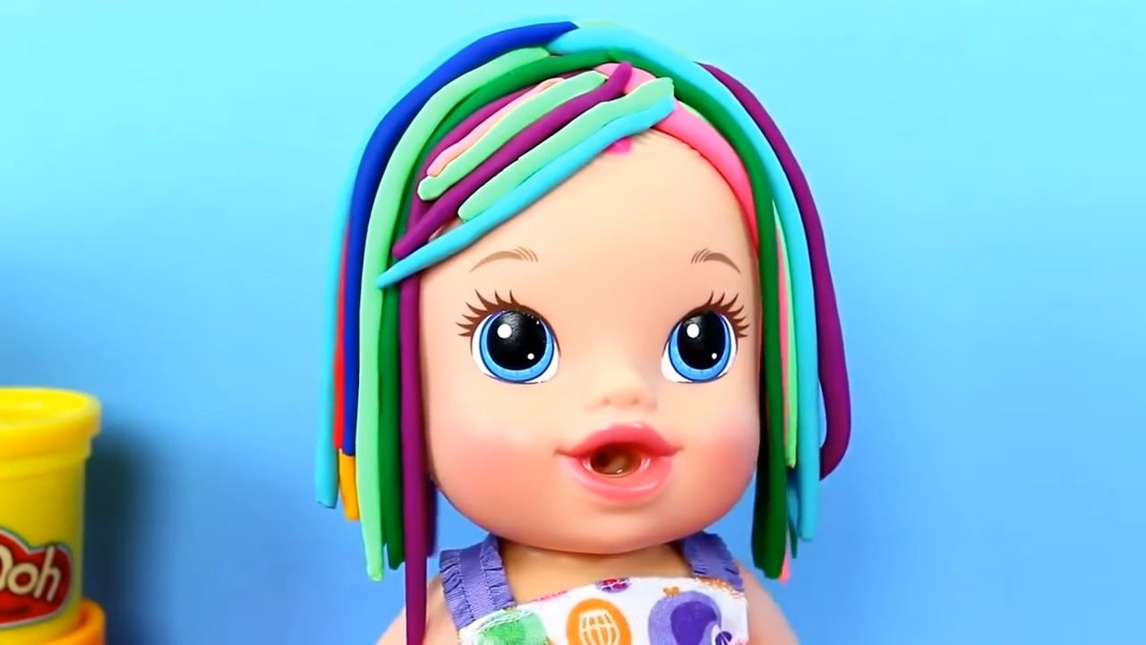 Baby Alive Sips Newborn Baby Dol L Gets Play Doh Hair And Sticker Bottle Baby Alive Getting Played Newborn Baby