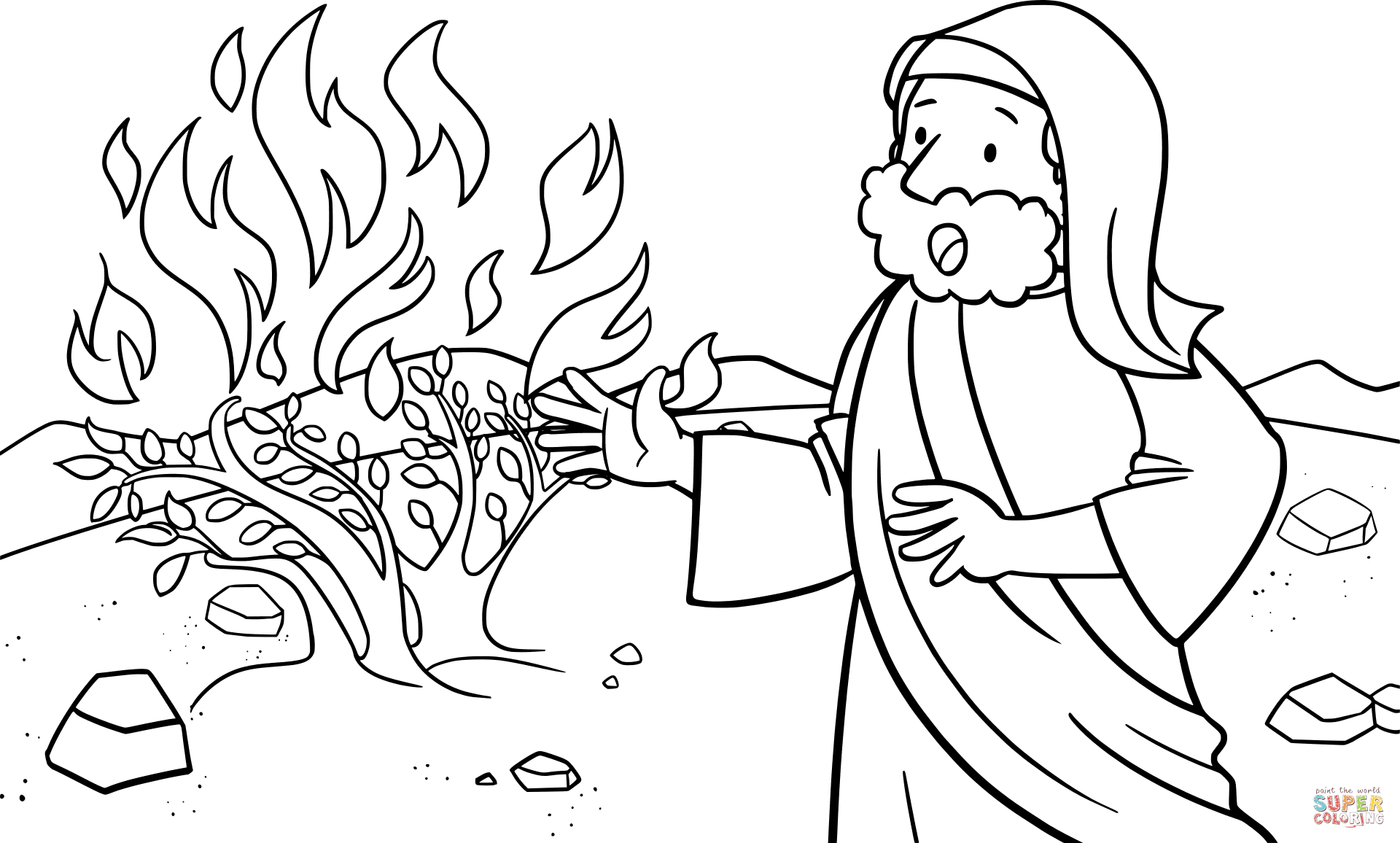 Moses Talking to God on the Mount Horeb coloring page from