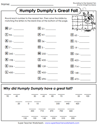 Rounding Nearest Ten Math Riddle Worksheet Letter Recognition Worksheets Rounding Worksheets Rounding Lesson