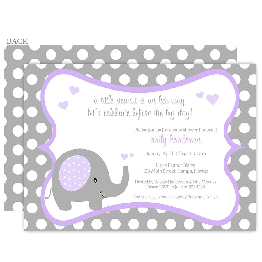 Polka Dot Elephant Purple Baby Shower Invitation | Baby elephants ...