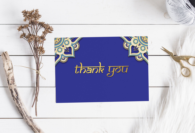 Bollywood thank you cards royal blue gold indian wedding