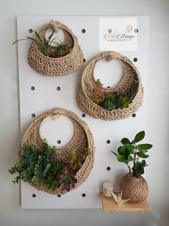 Handmade Crochet Jute Wall Hanging Fibs Strings Original Wall Planter Hanging Planter Circular Planter Crochet Planter Wall Basket Crochet Wall Hangings Crochet Plant Hanging Wall Planters