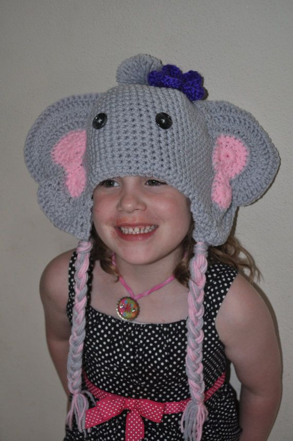MTO Crochet Elephant Beanie Child  Adult by HippyChildCrochet, $25.00