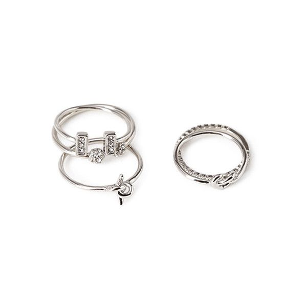 Forever 21 Mixed Midi Ring Set ($4.99) ❤ liked on Polyvore featuring jewelry, rings, forever 21 rings, top finger rings, stackable band rings, midi rings and knuckle midi ring
