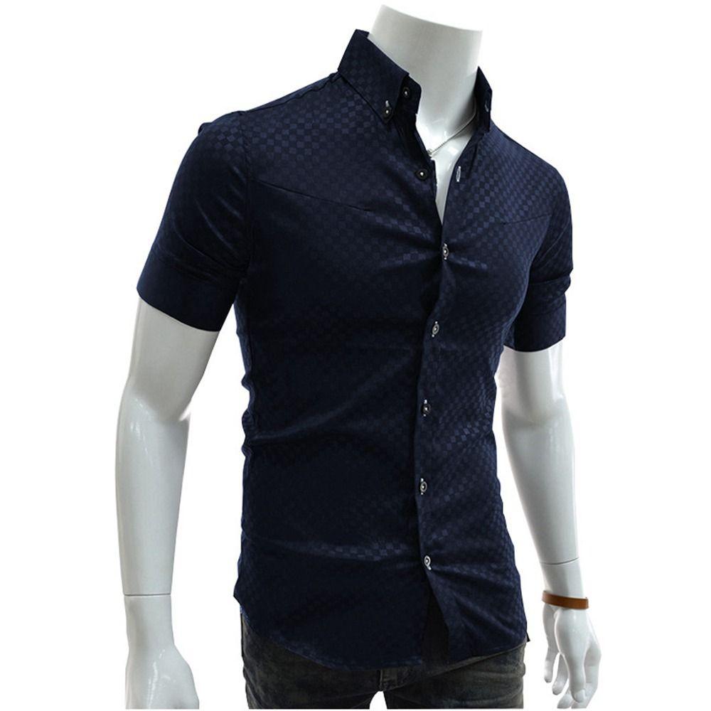 New 2016 Mens Summer Fashion Slim Fit Shirt Tops Short