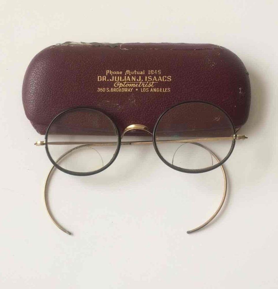 Antique Bifocal Glasses Round Lenses Black/Gold Frames VINTAGE Spectacles + Case #spectacles #vintagespecs #antiqueglasses