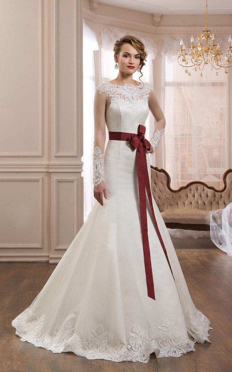Long sleeve lace wedding dress mermaid  Mermaid Long Sleeve Bateau Dress With Illusion And Bow  Pinterest
