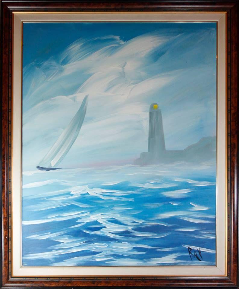 EL FARO   Pintura al oleo sobre lienzo de tela con marco y sobre marco de madera. Dimensiones 105 x 84 cm.