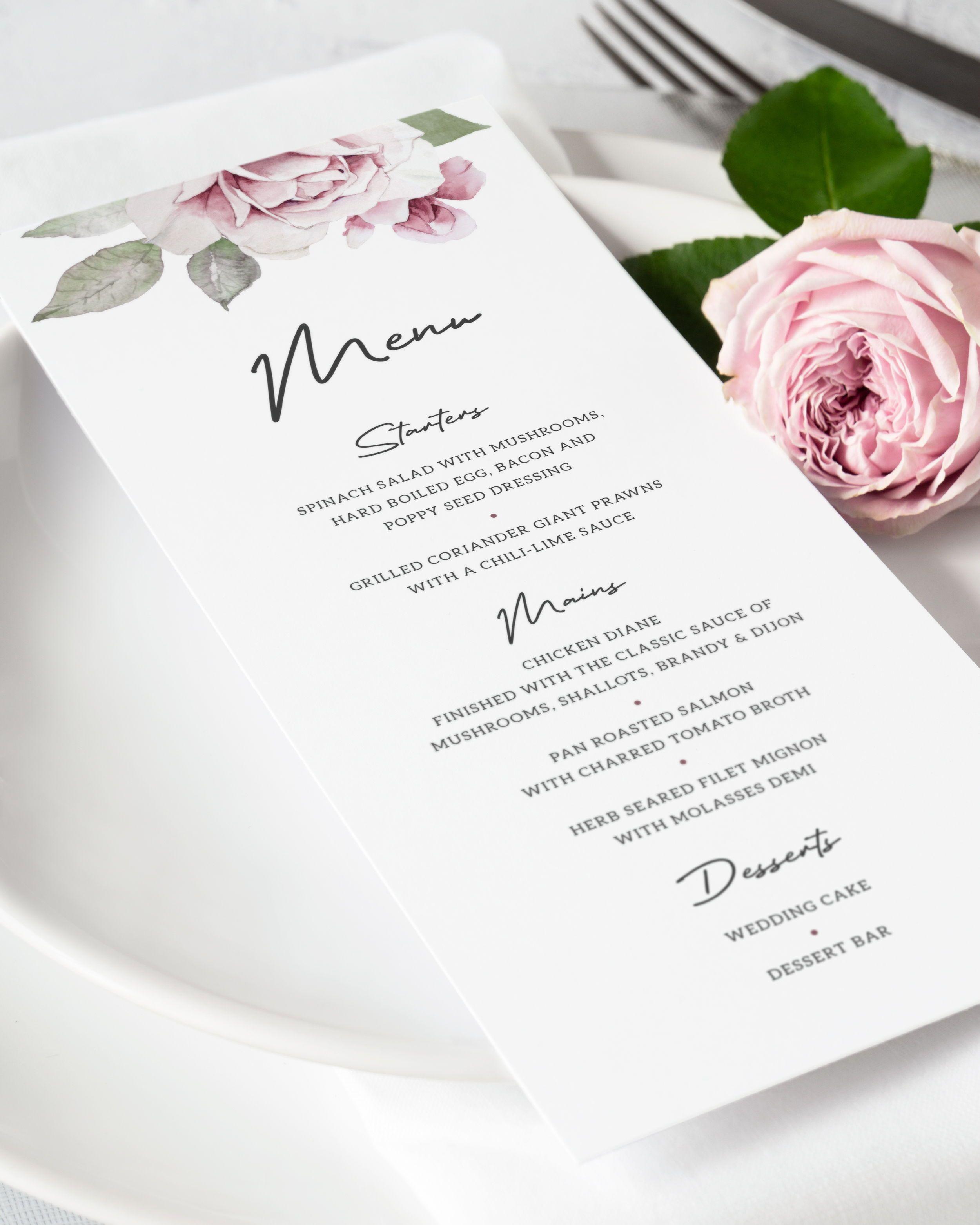 Dusty Rose Wedding Menu Template. Watercolor Floral