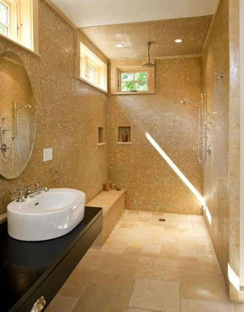 Use Large Format Tiles Through Out Your Entire Bathroom And Add Some Mosaics On The Shower Floor Large Tile Bathroom Blue Bathroom Tile Bathroom Tile Designs