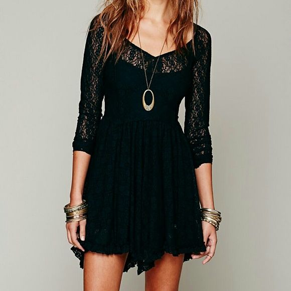Free People Dresses - Free People Star Lace Witchy Long Sleeve Slip