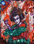 Lava Geisha   Ink and colored pencil