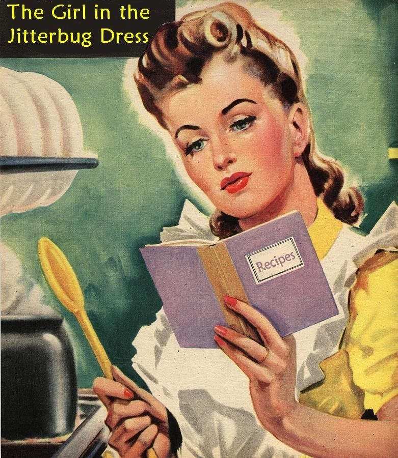 Retro Woman In Kitchen: 1940s Vintage Woman Cooking Recipe