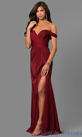 85257666a650 Shop Faviana long satin formal evening dresses at SimplyDresses. Off- shoulder special-occasion dresses with sweetheart necks and ruched bodices.
