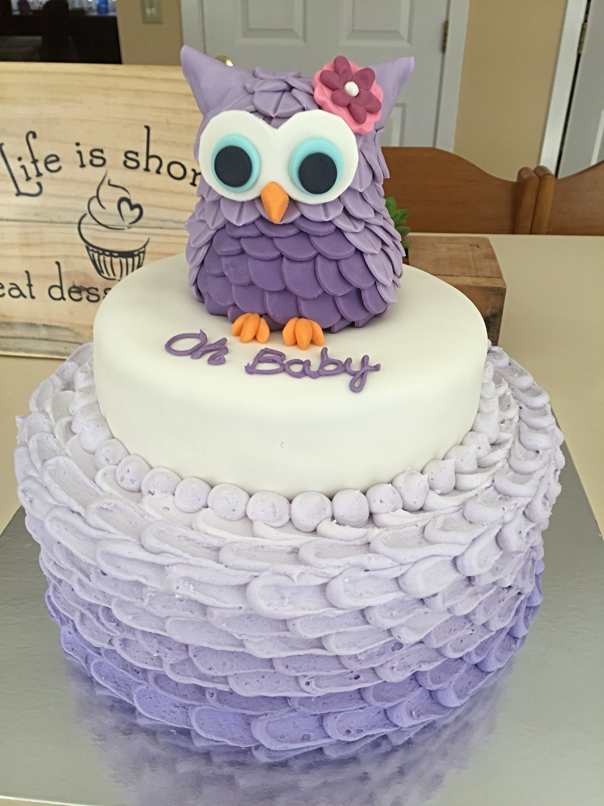 Purple Owl Baby Shower Cake Made This Vanilla Cake With Whipped