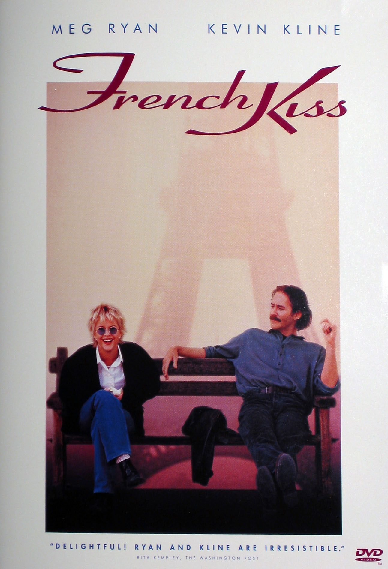 French Kiss (1955) A woman flies to France to confront her straying fiancé, but gets into trouble when the charming crook seated next to her uses her for smuggling.  Meg Ryan, Kevin Kline, Timothy Hutton...10,34