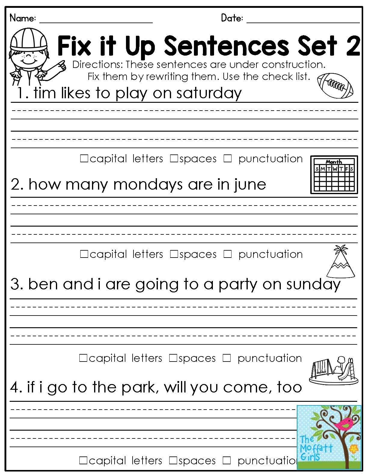 worksheet. First Grade Language Arts Worksheets. Worksheet Fun ...