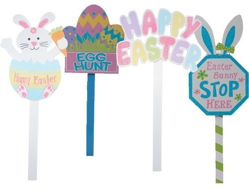 Delightful Easter Decorations Garden Stake Path Way Outdoor Yard Signs Lawn 4 PC Bunny  Egg