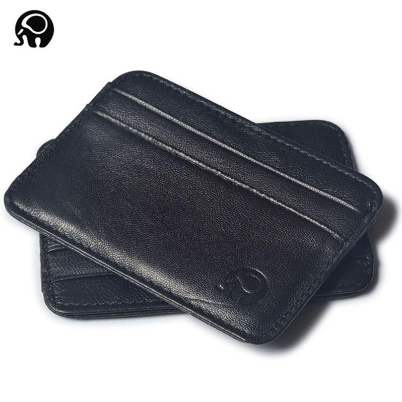 Super Slim Soft Men/'s Wallet Genuine Leather Mini Credit ID Card Holders
