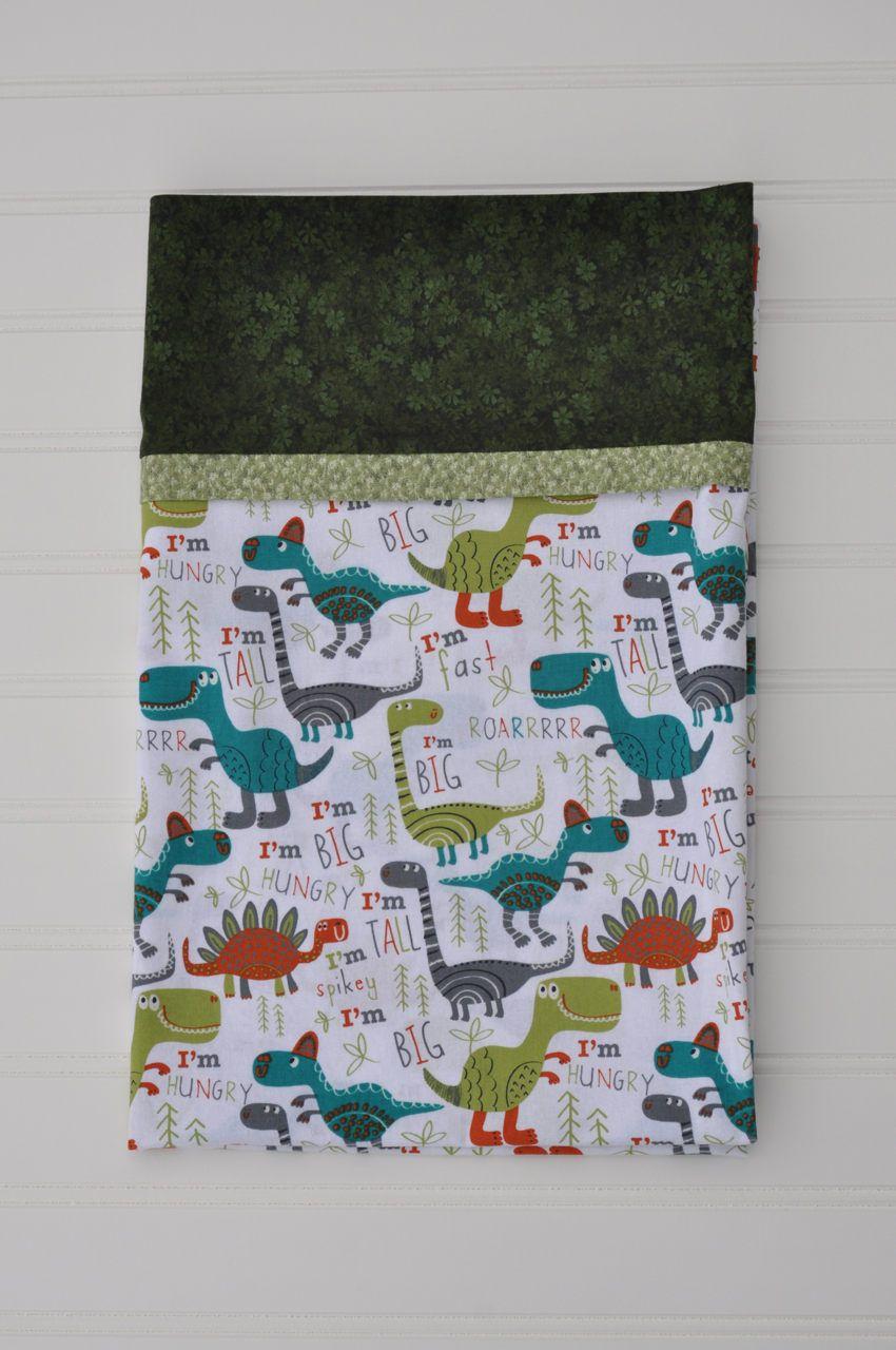 Dinosaur Standard size pillowcase, Holiday gift, Christmas gift, Orange, Green, Teal, kids pillowcase, child pillowcase, Gifts Under 20.00 by BlackKatStudio on Etsy